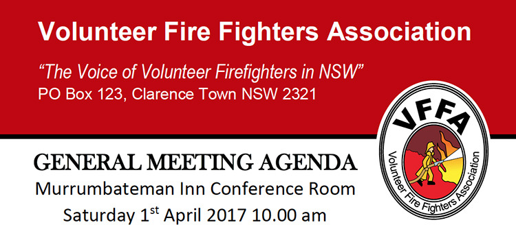 GENERAL MEETING AGENDA, Murrumbateman Inn Conference Room, Saturday 1st April 2017 10.00 am