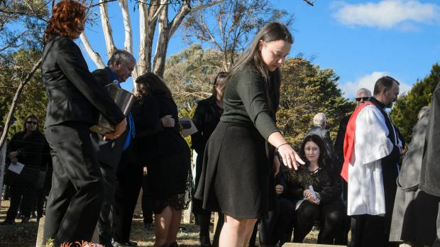 Charlotte Jeffery at the funeral of her grandfather Val Jeffery at the Queanbeyan Lawn Cemetery on Wednesday.