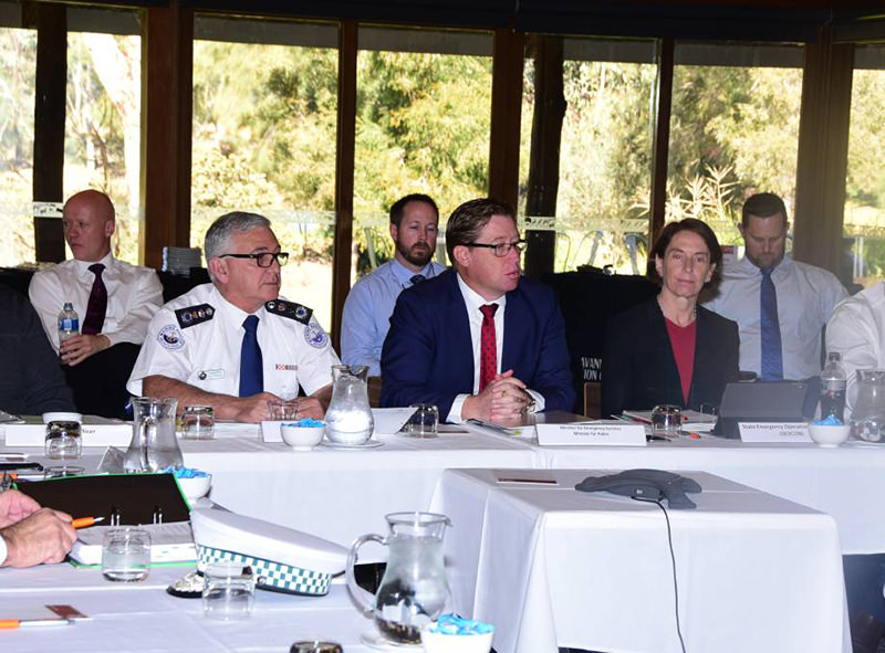 High level meeting: Stacey Tannos, Troy Grant and Catherine Burn at the State Rescue Board meeting at Dubbo on Friday. Photo: Paige Williams