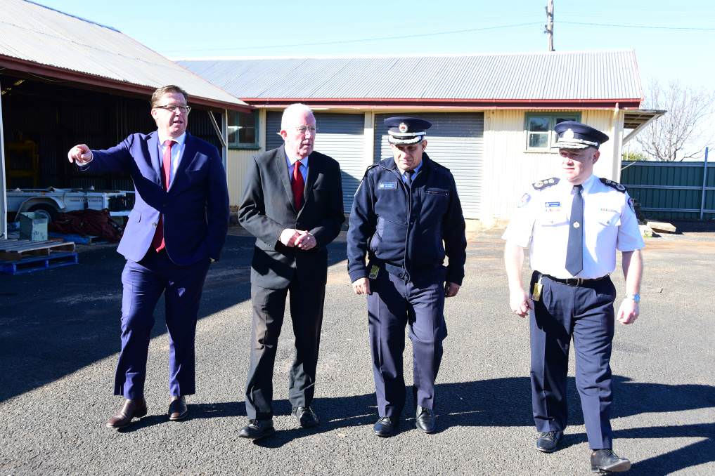 Big News: Dubbo MP Troy Grant, Dubbo Regional Council administrator Michael Kneipp, NSW Rural Fire Service Deputy Commissioner Rob Rogers and Commissioner Shane Fitzsimmons at the site where the facility will be built. Photo: Paige Williams