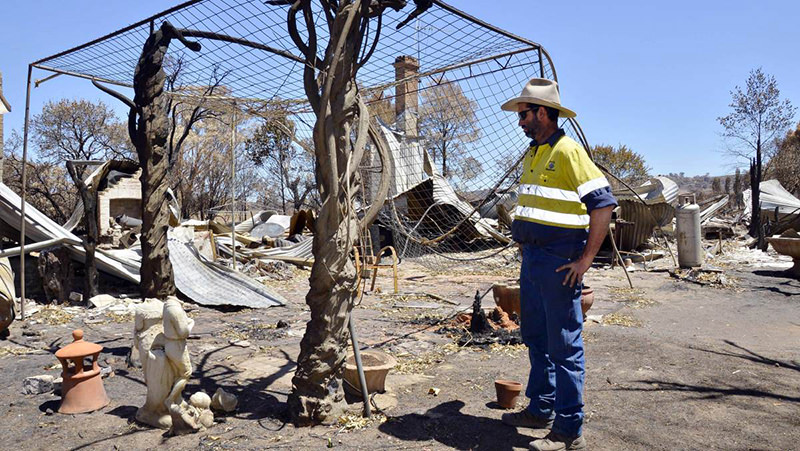 Devastation: Chris Wentworth-Brown of Uarbry lost his fmaily home in the bushfire. Photo: Belinda Soole