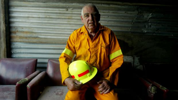 Val Jeffery in his firefighting gear in 2005. He was a Rural Fire Brigade captain for 38 years. Photo: Chris Lane