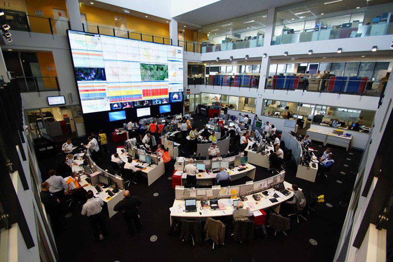 PHOTO: The RFS control room often monitors up to 100 fires at a time across NSW. (Supplied: Rural Fire Service)