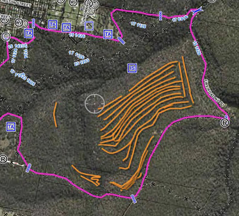The burn plan of the Buxton hazard reduction in the Southern Highlands in October 2016.