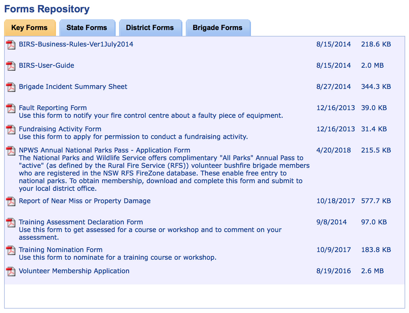 The Forms Repository from My-RFS (screenshot) with the Volunteer Membership Application form at the bottom of the list.